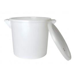 Emmer 35 liter wit plastic +deksel +handvatten
