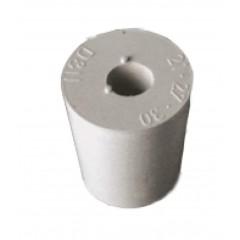 Rubber stop grijs D22/17 met gat 9mm