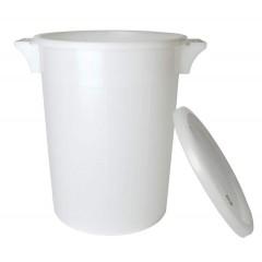 Emmer 50 liter wit plastic +deksel +handvatten