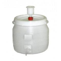 Vat plastic rond met kraan en waterslot 30 liter