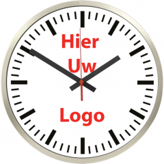 Logo op klok 40cm RVS rand strepen