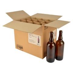 Bierfles Belge 75 cl, bruin, kroonkurk 26 mm, doos 12 st.