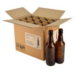 Beugelfles 50 cl bruin, zonder beugel, doos 12 stuks