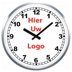 Logo op klok 60cm RVS rand cijfers